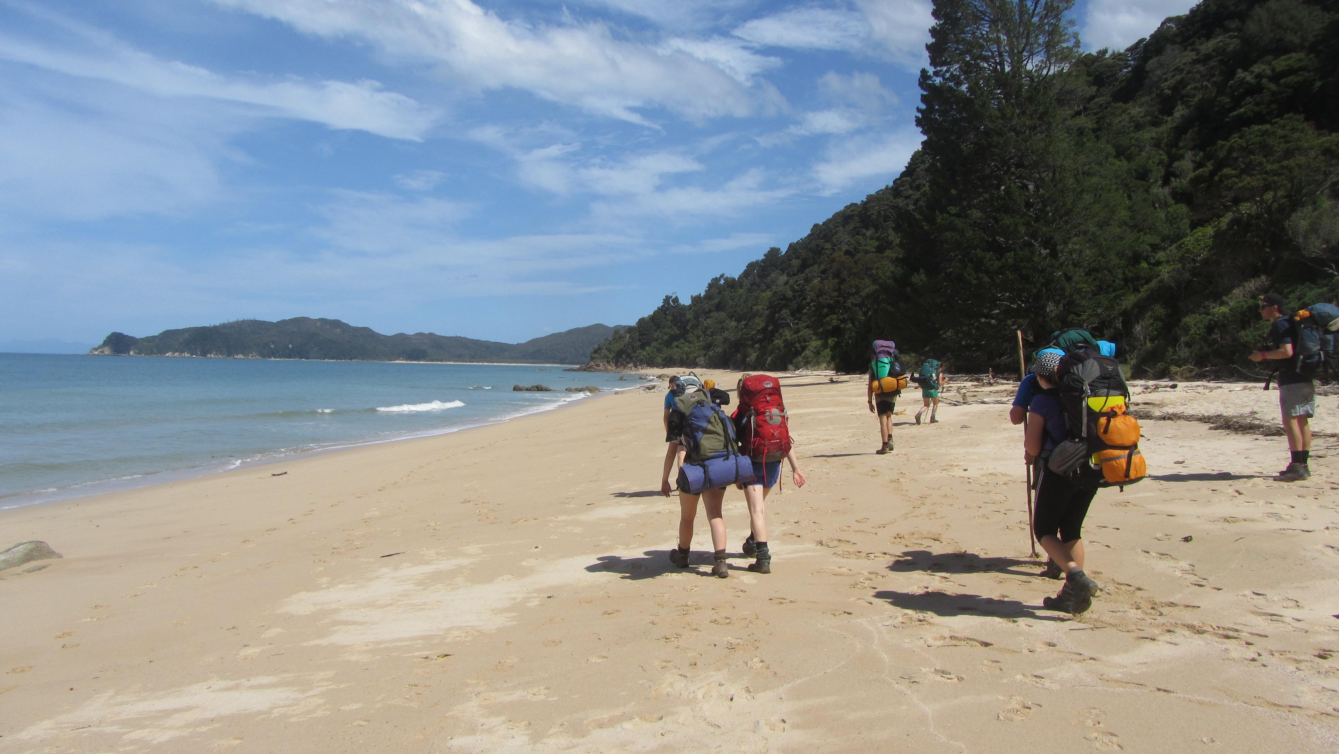 Beach Tramping on Abel Tasman E3 expedition. [Christy McKessar]